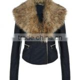 hot sales the newest design genuine sheepskin black womens leather jackets with faux fur