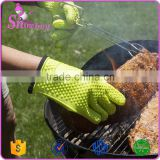 Silicone Cooking Gloves - Heat Resistant Oven Mitt for Grilling, BBQ, Kitchen-Internal Protective Cotton Layer