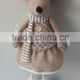 Hot sale cute lady mice stuffed plush toy doll with fabric legs at dolls with gloves and scarfs