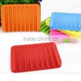 Unbreakable colorful bathroom washable Silicone Soap holder drying tray soap saver