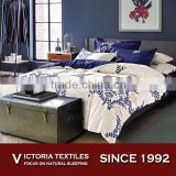 Luxury Luxurious Navy Floral Beige Background Comforter Bedding Bed Set Bed In A Bag Full Size