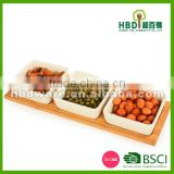 Hot selling bamboo ceramic chip and dip tray