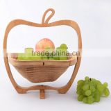 Apple Shaped Bamboo Wooden Fruit Bowl Display Basket Holder Collapsible Folding Oval
