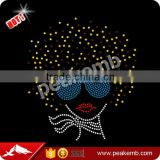 High Quality Fashion Beatiful Colors Afro Girl Iron On Rhinestone Heat Transfer For Garment