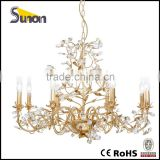 8 light wrought Iron glittering gold foil chandelier in Indian sell well/cheap modern chandelier