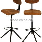 wholesale handicraft furniture adjustable height high chair footrest cheap wooden bar stool