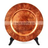 Orange Plastic charger banquet events party wedding wholesale decor charger plates/cheap plastic charger plates
