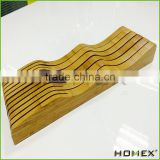 Bamboo knife block holder organizer for kitchen cutlery Homex BSCI/Factory