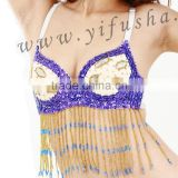Professional belly dance costume for sale,purple sequin beaded fringe belly dance bra