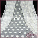 Off-white flower applique designs mesh fabric, embroidered bridal lace fabrics for dress