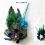 Diamond Embellished Feather Brooch Pin