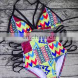 High quality printting open sides high waist bikini