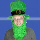 Irish hat with beard green ireland festival hat with brown moustache St patrick day's bishop hats with beard