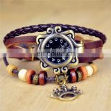 2014 Hottest Sales Leather Retro Wrap wrist Bracelets Lady Watch