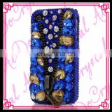 Aidocrystal Super beautiful handmade mobile phone sparkle bling blue gold diamond zipper decoratio cover case for iphone 6