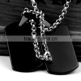Stainless Steel Blank Black Dog Tag, Fashion Jewelry, Luxury Pendant