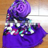 Fashionable voile scarf flower printed long scarf woven scarf tartan plaid scarf