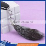 Latest design 2015 Natural Silver Fox Fur Tail / Fashion Dyed Color Fox Tail Fur Keychain with cheap price
