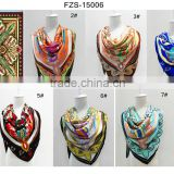 2016 Spring And Autumn Female Polyester Silk Scarf Shawl, Big Square Scarves Printed, Women Scarf cheap head scarves