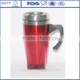 creative design inner steel outer plastic advertising mug with handle