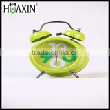 Mini quartz analog twin bell alarm clock with metal green casting/office alarm clock