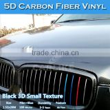 Wholesale Graphic Design Glossy Vehicle Wrap Textured Black Glossy 5D Carbon Fiber Vinyl