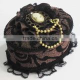 Jewelry Gift Box, Velveteen, with iron chain & Lace & Satin Ribbon & Resin & Zinc Alloy, Oval, brown,