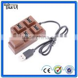 Hot sell chocolate shaped 4 ports usb hub for for laptop computer PC, creative christmas gift 2.0 usb hub