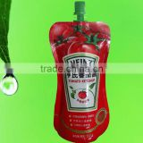 doypack stand up pouch bottom gusset food grade plastic tomato sauce/ketchup packaging bag with customized printing