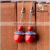 Retro Daily Wear Big Red Stone Beads Dangle Earrings for cute girls