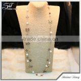 new style hot selling brown double strand chain pearl necklace with clover cross bowknot charms