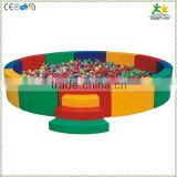 FS-SP-039B customized eco-friendly PVC & EPE & Wood round kids ball pool with ladder