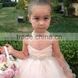 (MY2686) MARRY YOU 2016 Children Wedding Dress Spaghetti Strap Champange Tulle Baby Flower Girl Dresses Patterns