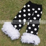 KP-LWR013 New style lace black dot kids legging baby toddler leg warmer 2015