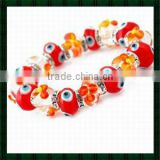 Mal De Ojo Evil Eye Bracelet for Italian Murano Glass Evil Eye Beads with Transparent Glass Flower Beads