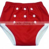 2016 popular!!!plain red color PUL baby pants with polyester PUL outer layer and bamboo inner