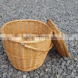 RURALITY Wicker Willow Picnic Basket Hamper with Lid and Handle