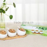 Eco-friendly bamboo spice set/kitchen accessory/ceramic spice & salt jars with bamboo racks wholesale