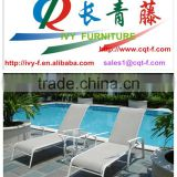 outdoor White sling fabric Leisure Chaise Lounge Chair