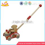 Wholesale lovely wooden walking animal stroller toy funny baby walking animal stroller toy W05A007