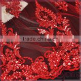 Red floral tulle embroidery with cord lace,sparkle beaded sequin lace fabric for wedding