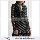 Wholesale Women Apparel Black and Silver Lace-up Metallic Fil Coupe Georgette Blouse(DQE0383T)