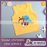 Latest design yellow bee custom pattern sleeveless sweater vest for baby boys