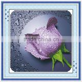Handmade Purple Flower Pattern Embroidery Diamond &Rhinestone Painting DIY Kit Cross Stitch For Living Room