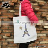 Fashion Rhinestone heat transfer Customized Cotton Canvas Tote Bag Recycle Organic Cotton Tote Bags Wholesale