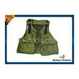 Army Green Youth Hunting Fishing Vest 11 Pockets With Breathable Fabric