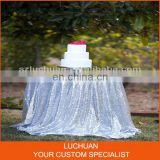 Shiny Sliver Sequins Round Luxury Table Linens For Weddings
