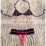 Falling Chain Top Polka Lace Red White Blue Lace bikini swimwear
