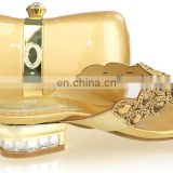 Latest design gold low heel bridal shoes