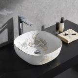 Good quality ceramic square deep golden color wash hand no hole basin from chaozhou china
